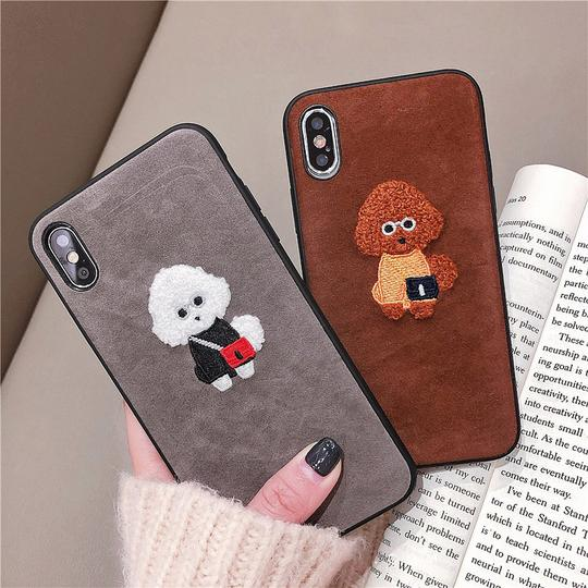 Plush Embroidery Cartoon Dog  Silicone Phone Case Back Cover for iPhone XS Max/XR/XS/X/8 Plus/8/7 Plus/7/6s Plus/6s/6 Plus/6 - halloladies