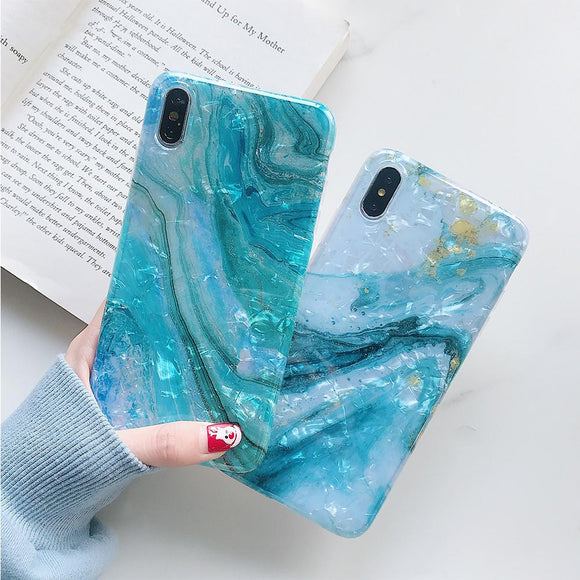 Blue Shell Soft TPU Glitter Marble Phone Case Back Cover for iPhone 12 Pro Max/12 Pro/12/12 Mini/SE/11 Pro Max/11 Pro/11/XS Max/XR/XS/X/8 Plus/8 - halloladies