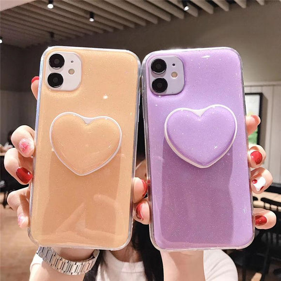Glitter Love Heart Candy Color Stand Holder Soft Silicone Phone Case for iPhone 12 Pro Max/12 Pro/12/12 Mini/SE/11 Pro Max/11 Pro/11/XS Max/XR/XS/X/8 Plus/8 - halloladies