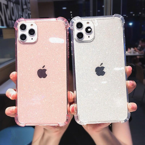 Glitter Transparent Bumber Soft Phone Case Back Cover for iPhone 12 Pro Max/12 Pro/12/12 Mini/SE/11 Pro Max/11 Pro/11/XS Max/XR/XS/X/8 Plus/8 - halloladies