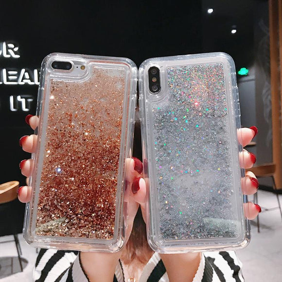 Glitter Water Liquid Quicksand Soft Phone Case Back Cover for iPhone 12 Pro Max/12 Pro/12/12 Mini/SE/11 Pro Max/11 Pro/11/XS Max/XR/XS/X/8 Plus/8 - halloladies