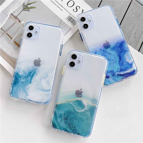 Gradient Marble Texture Clear Soft Phone Case Back Cover for iPhone 12 Pro Max/12 Pro/12/12 Mini/SE/11 Pro Max/11 Pro/11/XS Max/XR/XS/X/8 Plus/8 - halloladies