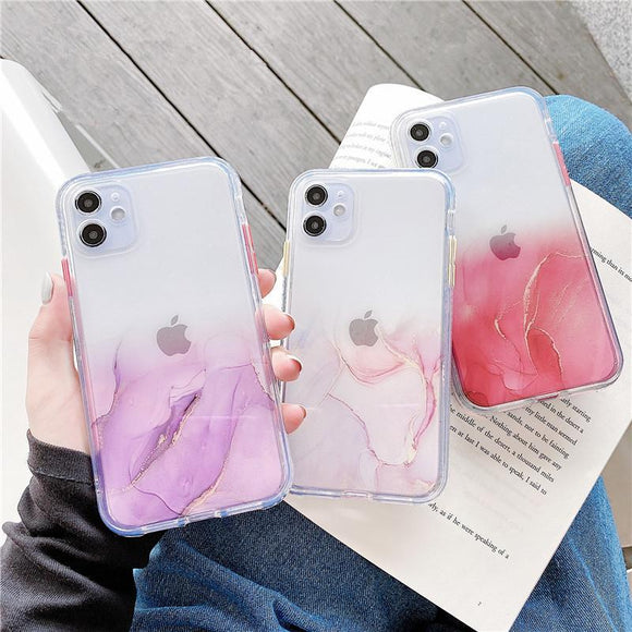 Gradient Marble Texture Clear Soft Phone Case Back Cover Pink for iPhone 12 Pro Max/12 Pro/12/12 Mini/SE/11 Pro Max/11 Pro/11/XS Max/XR/XS/X/8 Plus/8 - halloladies