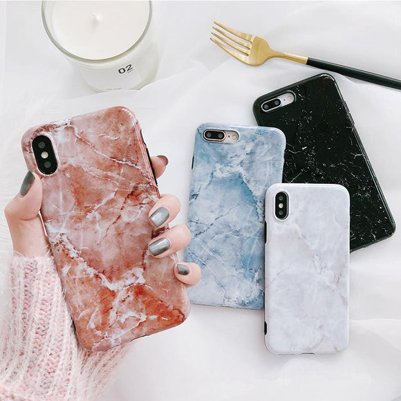 Granite Marble Soft TPU Phone Case Back Cover - iPhone SE/11 Pro Max/11 Pro/11/XS Max/XR/XS/X/8 Plus/8/7 Plus/7/6s Plus/6s/6 Plus/6 - halloladies