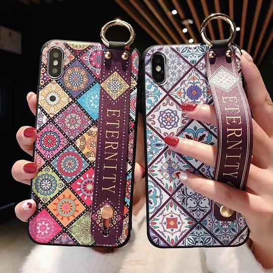 Retro Geometric Art Wrist Strap Hand Band Silicone Phone Case Back Cover for iPhone XS Max/XR/XS/X/8 Plus/8/7 Plus/7/6s - halloladies