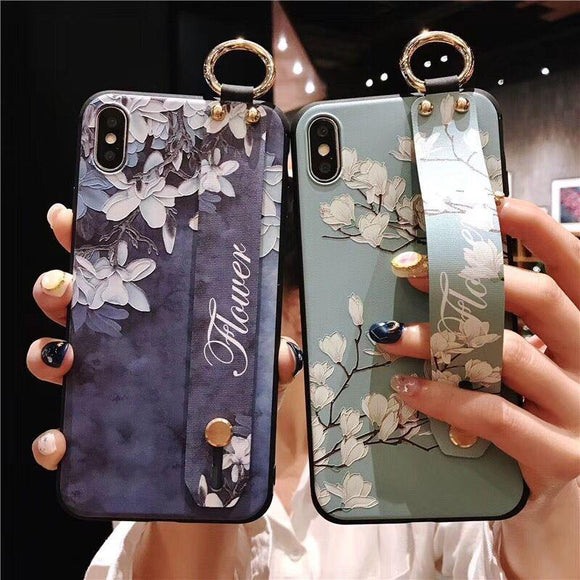 Relief Flower Wrist Strap Hand Band Soft TPU Phone Case Back Cover - iPhone XS Max/XR/XS/X/8 Plus/8/7 Plus/7/6s Plus/6s/6 Plus/6 - halloladies