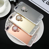 Finger Ring Holder Stand Diamond Plated Mirror Phone Case Back Cover for iPhone XS Max/XR/XS/X/8 Plus/8/7 Plus/7/6s Plus/6s/6 Plus/6 - halloladies
