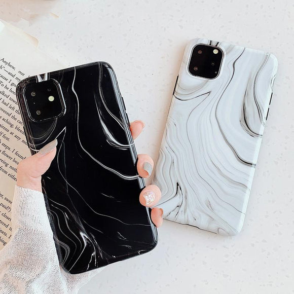 Simple Marble Line Phone Case Back Cover - iPhone 11 Pro Max/11 Pro/11/XS Max/XR/XS/X/8 Plus/8/7 Plus/7/6s Plus/6s/6 Plus/6 - halloladies