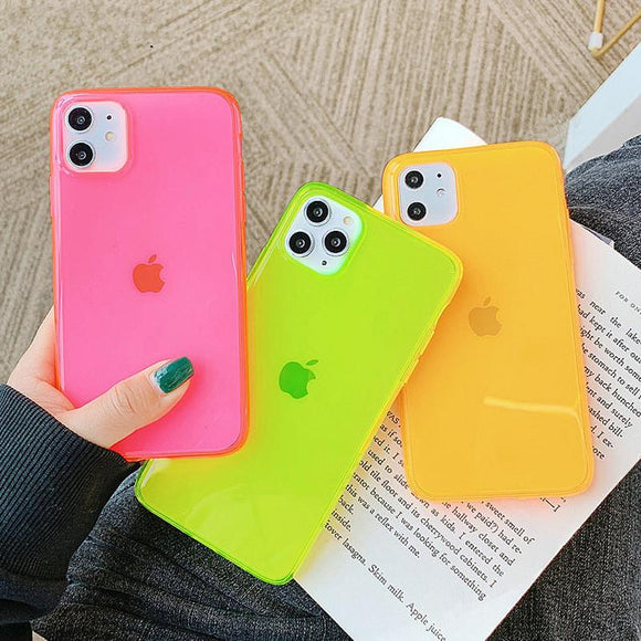 Fashion Neon Fluorescent Color Luxury Transparent Soft Phone Case Back Cover -iPhone 12 Pro Max/12 Pro/12/12 Mini/iPhone 11/11 Pro/11 Pro Max/XS Max/XR/XS/X/8 Plus/8/7 Plus/7 - halloladies