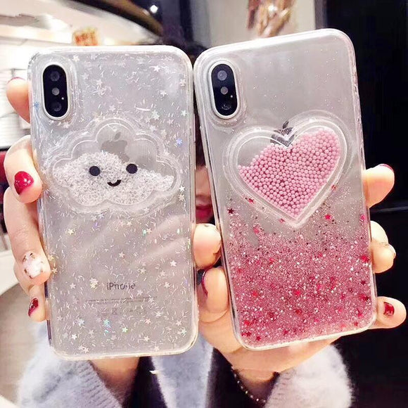 Liquid Heart Glitter Powder Smile Face Clouds Phone Case Back Cover - iPhone 11/11 Pro/11 Pro Max/XS Max/XR/XS/X/8 Plus/8/7 Plus/7/6s Plus/6s/6 Plus/6 - halloladies