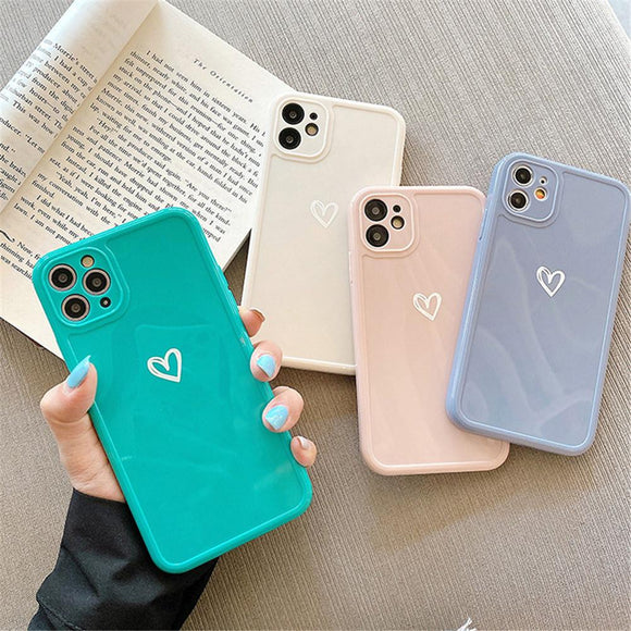 Love Heart Candy Color Soft Phone Case Back Cover for iPhone 12 Pro Max/12 Pro/12/12 Mini/SE/11 Pro Max/11 Pro/11/XS Max/XR/XS/X/8 Plus/8 - halloladies
