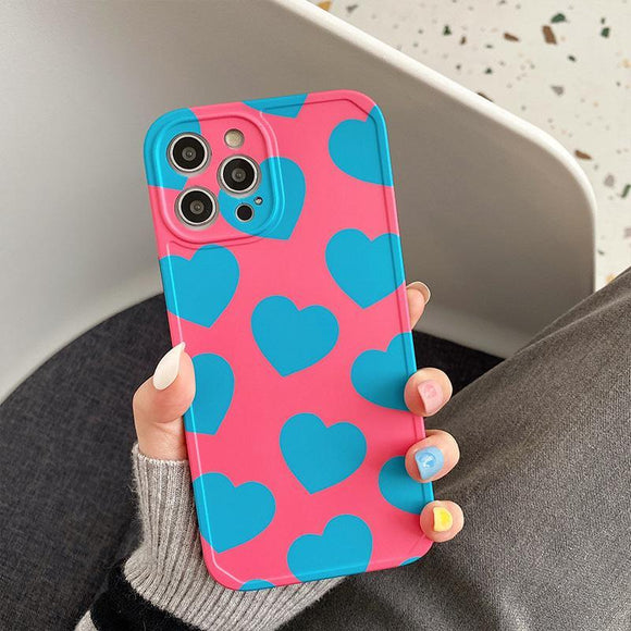 Love Heart Silicone Soft Phone Case Back Cover for iPhone 12 Pro Max/12 Pro/12/12 Mini/SE/11 Pro Max/11 Pro/11/XS Max/XR/XS/X/8 Plus/8