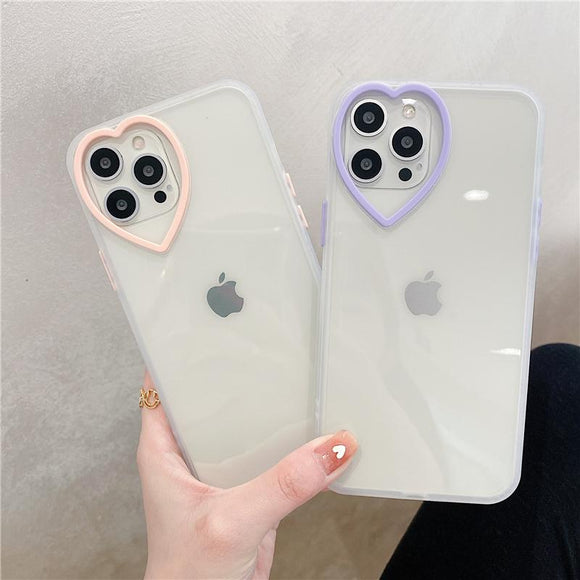 Love Lens Silicone Clear Soft Phone Case Back Cover  for iPhone 12 Pro Max/12 Pro/12/12 Mini/SE/11 Pro Max/11 Pro/11/XS Max/XR/XS/X/8 Plus/8