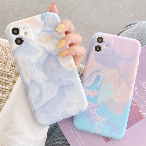 Marble Oil Painting Soft Phone Case Back Cover for iPhone 12 Pro Max/12 Pro/12/12 Mini/SE/11 Pro Max/11 Pro/11/XS Max/XR/XS/X/8 Plus/8 - halloladies