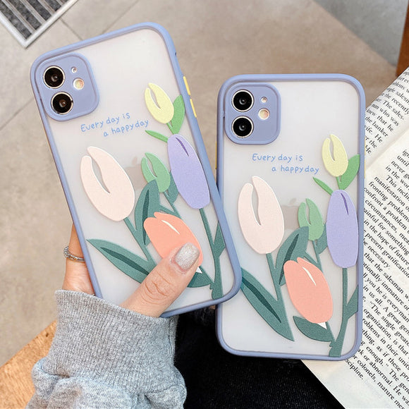 Oil Painting Tulip Flower Matte Phone Case Back Cover Camera Protection for iPhone 12 Pro Max/12 Pro/12/12 Mini/SE/11 Pro Max/11 Pro/11/XS Max/XR/XS/X/8 Plus/8 - halloladies