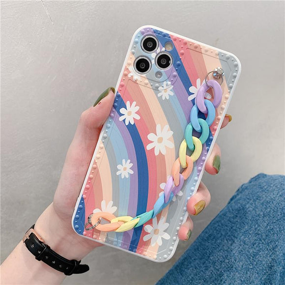 Rainbow Flower Wrist Strap Soft Phone Case Back Cover for iPhone 12 Pro Max/12 Pro/12/12 Mini/SE/11 Pro Max/11 Pro/11/XS Max/XR/XS/X/8 Plus/8 - halloladies