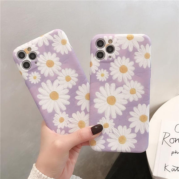 Retro Art Oil Painting Daisy Flower Soft Phone Case Back Cover for iPhone 12 Pro Max/12 Pro/12/12 Mini/SE/11 Pro Max/11 Pro/11/XS Max/XR/XS/X/8 Plus/8 - halloladies