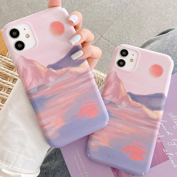 Sunset Oil Painting Hard Phone Case Back Cover for iPhone 12 Pro Max/12 Pro/12/12 Mini/SE/11 Pro Max/11 Pro/11/XS Max/XR/XS/X/8 Plus/8 - halloladies