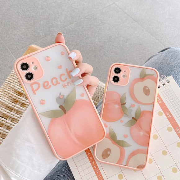 Sweet Peach Cute Cartoon Fruit Camera Protector Soft Phone Case Back Cover for iPhone 12 Pro Max/12 Pro/12/12 Mini/SE/11 Pro Max/11 Pro/11/XS Max/XR/XS/X/8 Plus/8 - halloladies