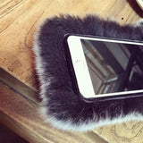 Fluffy Plush Rabbit Fur Ear Tail Soft Silicone Phone Case Back Cover for iPhone XS Max/XR/XS/X/8 Plus/8/7 Plus/7/6s Plus/6s/6 Plus/6 - halloladies