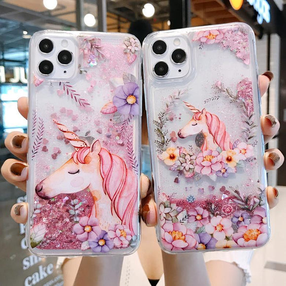 Cute Pink Unicorn Flower Love Heart Dynamic Liquid Quicksand Case for iPhone 12 Pro Max/12 Pro/12/12 Mini/SE/11 Pro Max/11 Pro/11/XS Max/XR/XS/X/8 Plus/8 - halloladies
