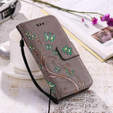 Butterfly Flower Print Leather Flip Wallet Phone Case Back Cover - iPhone 11 Pro Max/11 Pro/11/XS Max/XS/XR/X/8 Plus/8/7 Plus/7 - halloladies