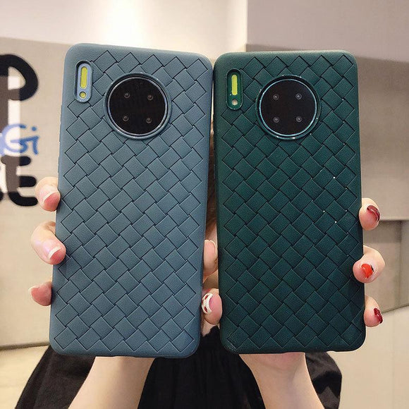 Simple Grid Solid Color Soft Phone Case Back Cover for Huawei Mate 30/P30/Mate 20 Pro/Lite - halloladies
