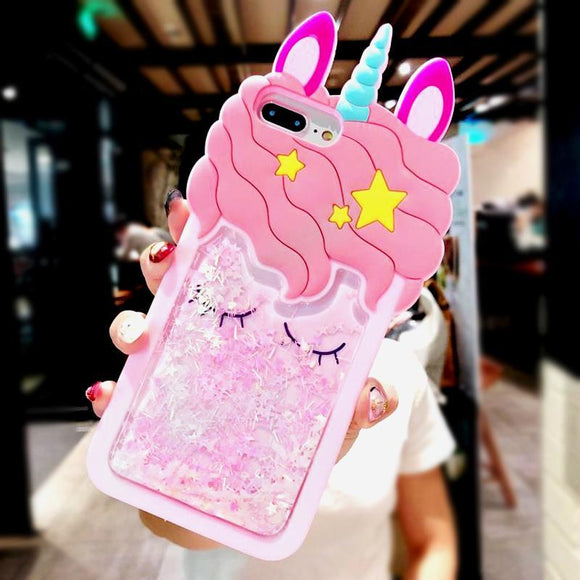 3D Cartoon Pink Quicksand Unicorn Soft Silicone Liquid Stars Phone Case Back Cover for iPhone 11 Pro Max/11 Pro/11/XS Max/XR/XS/X/8 Plus/8/7 Plus/7 - halloladies