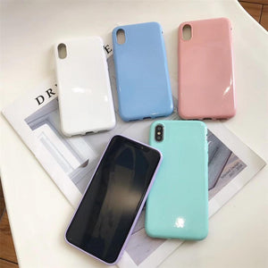 Simple Candy Color Soft TPU Phone Case Back Cover - OPPO R17 Pro/R17/R15 Dream Mirror/R15/A7/A5/A3 - halloladies