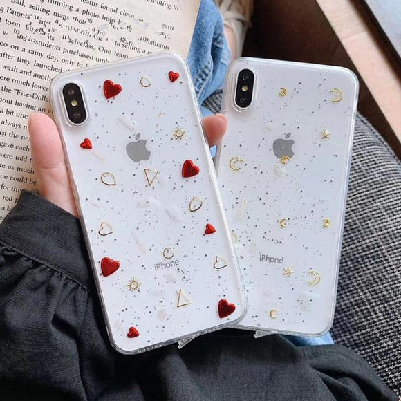 Retro Plated Love Heart Glitter Clear Phone Case Back Cover for iPhone XS Max/XR/XS/X/8 Plus/8/7 Plus/7/6s Plus/6s/6 Plus/6 - halloladies