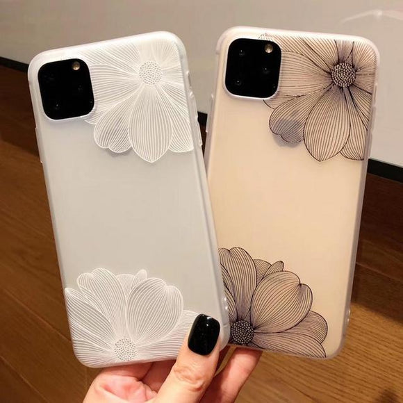 Simple Lace Matte Lotus Phone Case Back Cover - iPhone 11 Pro Max/11 Pro/11/XS Max/XR/XS/X/8 Plus/8/7 Plus/7 - halloladies