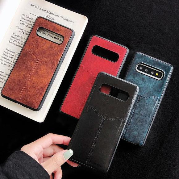 Solid Color Leather Card Holder Soft Phone Case Back Cover - Samsung Galaxy S10E/S10 Plus/S10/S9 Plus/S9/S8 Plus/S8/Note 10 Pro/Note 10/Note 9/Note 8 - halloladies