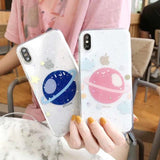 Glitter Space Planet Stars Clear Phone Case Back Cover for iPhone 11/11 Pro/11 Pro Max/XS Max/XR/XS/X/8 Plus/8/7 Plus/7 - halloladies