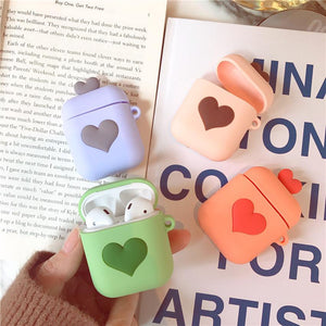 3D Love Heart Candy Color Airpods Case Wireless Bluetooth Earphone Cases for Airpods - halloladies