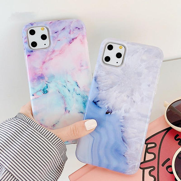 Geometric Marble Pattern Soft TPU Phone Case Back Cover for iPhone 11/11 Pro/11 Pro Max/XS Max/XR/XS/X/8 Plus/8/7 Plus/7 - halloladies