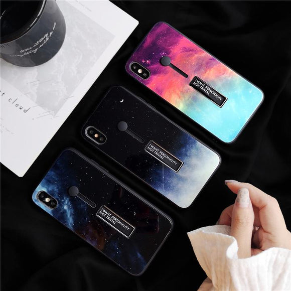 Night Sky Moon Nebula Stretch Ring Stand Design Phone Case Back Cover for iPhone 11 Pro Max/11 Pro/11/XS Max/XR/XS/X/8 Plus/8/7 Plus/7/6s Plus/6s/6 Plus/6 - halloladies