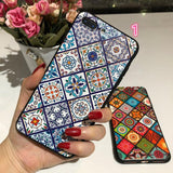 3D Relief Retro Grid Totem Phone Case Back Cover - Samsung Galaxy S10E/S10 Plus/S10/S9 Plus/S9/S8 Plus/S8, Samsung Note 9/Note 8 - halloladies