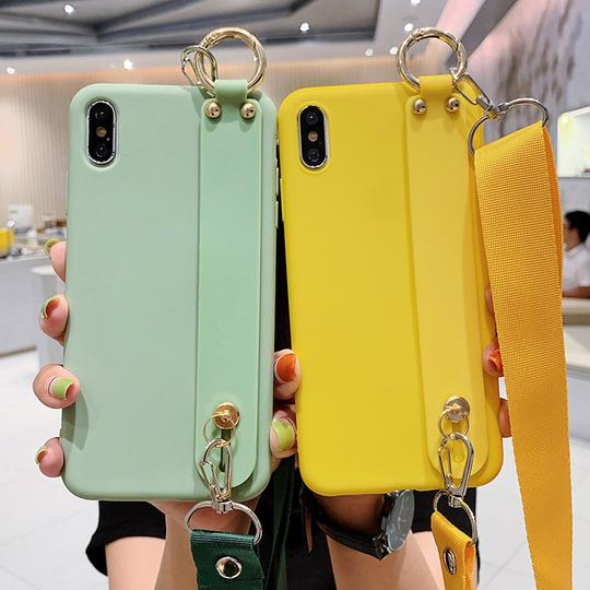 Candy Color with Wrist Strap Lanyard Silicone Phone Case Back Cover for Samsung Galaxy S10E/S10 Plus/S10/S9 Plus/S9/S8 Plus/S8/Note 10 Pro/Note 10/Note 9/Note 8 - halloladies