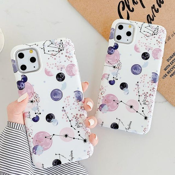 Cartoon Dot Planet Star Phone Case Back Cover - iPhone 11 Pro Max/11 Pro/11/XS Max/XR/XS/X/8 Plus/8/7 Plus/7 - halloladies