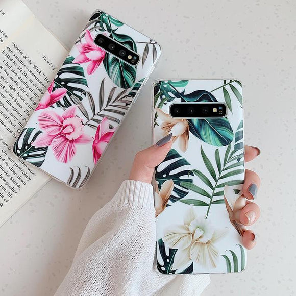 Soft IMD Retro Flower & Leaf Phone Case Back Cover for Samsung A80/A70 - halloladies