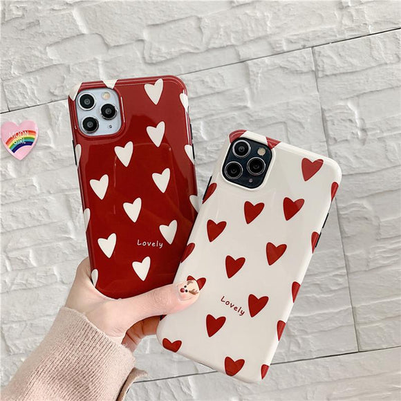 Love Heart Glossy Cute Soft Phone Case Back Cover for iPhone 12 Pro Max/12 Pro/12/12 Mini/SE/11 Pro Max/11 Pro/11/XS Max/XR/XS/X/8 Plus/8 - halloladies