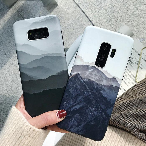 Simple Landscape Mountain Soft Phone Case Back Cover - Samsung Galaxy S10E/S10 Plus/S10/S9 Plus/S9/S8 Plus/S8 - halloladies