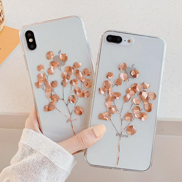 Glitter Plating Gold Leaf Clear Phone Case Back Cover for iPhone 11/11 Pro/11 Pro Max/XS Max/XR/XS/X/8 Plus/8/7 Plus/7 - halloladies