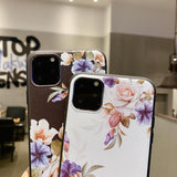 Cute 3D Emboss Flower Patterned Phone Case Back Cover - iPhone 11 Pro Max/11 Pro/11/XS Max/XR/XS/X/8 Plus/8/7 Plus/7 - halloladies