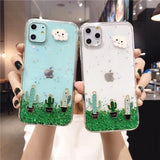 Cartoon Cactus Cloud Glitter Stars Clear Phone Case Back Cover - iPhone 11 Pro Max/11 Pro/11/XS Max/XR/XS/X/8 Plus/8/7 Plus/7 - halloladies