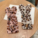 Rabbit Hair Fluffy Fur Plush Leopard iPhone Case Back Cover for iPhone 11 Pro Max/11 Pro/11/XS Max/XR/XS/X/8 Plus/8/7 Plus/7 - halloladies