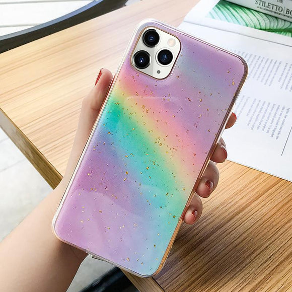 Gold Foil Gradient Rainbow Glitter Soft Phone Case Back Cover - iPhone 12 Pro Max/12 Pro/12/12 Mini/SE/11 Pro Max/11 Pro/11/XS Max/XR/XS/X/8 Plus/8 - halloladies