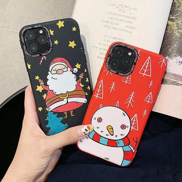 Cartoon Christmas Santa Snowman Phone Case Back Cover for iPhone 11/11 Pro/11 Pro Max/XS Max/XR/XS/X/8 Plus/8/7 Plus/7 - halloladies