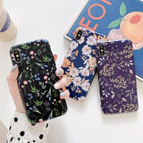 Retro Flower Glossy Soft Phone Case Back Cover for iPhone XS Max/XR/XS/X/8 Plus/8/7 Plus/7/6s Plus/6s/6 Plus/6 - halloladies