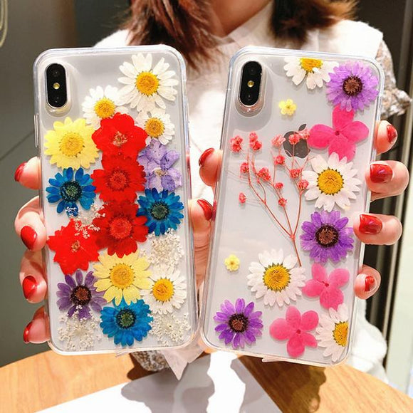 Real Dried Daisy Flower Clear Phone Case Back Cover - iPhone 11/11 Pro/11 Pro Max/XS Max/XR/XS/X/8 Plus/8/7 Plus/7 - halloladies